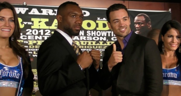 Austin Trout and Delvin Rodriguez pose after the last press conference before their fight June 2nd