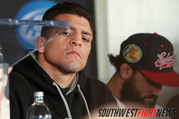 "Nick Diaz entertained the media with his ""Wolf Tickets"" and colorful comments."