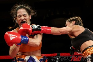 Hometown favorite Monica Lovato started slow but her power punches overwhelmed her opponent late in rounds three and four.