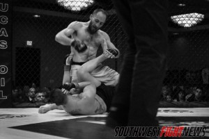 Whitney started a successful night for the Santa Fe BJJ Academy and he did so with powerful hammerfists.  Photo: Bryant Muncy / Southwest Fight News