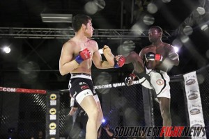 Darrel Macklin and Jose Cueto put on Fight of the Night at Jackson's MMA Protégés at the Albuquerque Rail Yards