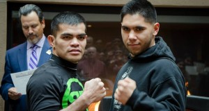 Ranee Ganoy (L) and Josh Torres (R) will face off in a  super lightweight WBC USBNBC title fight on April 11 at the Albuquerque Convention Center. Photo: Melissa Gabaldon