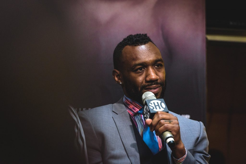 Austin Trout speaks taking a question at a press conference in 2018
